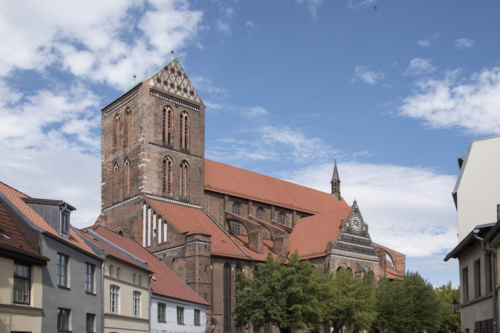 Wismar, Germany, Architecture of ancient gothic St. George Cathedral Church in Wismar