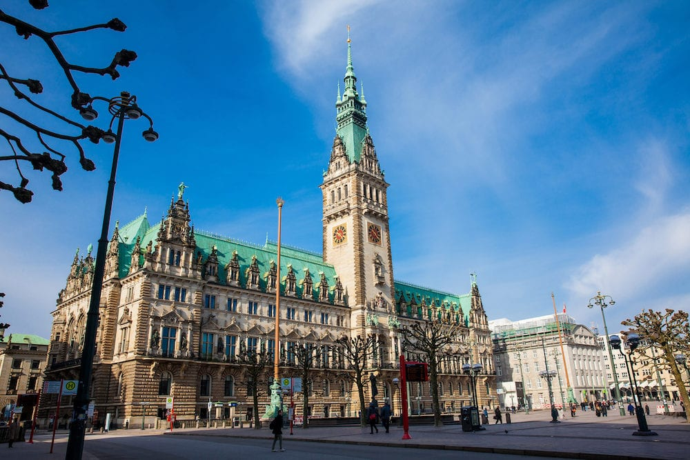 HAMBURG, GERMANY - Hamburg City Hall building located in the Altstadt quarter in the city center at the Rathausmarkt square in a beautiful early spring day