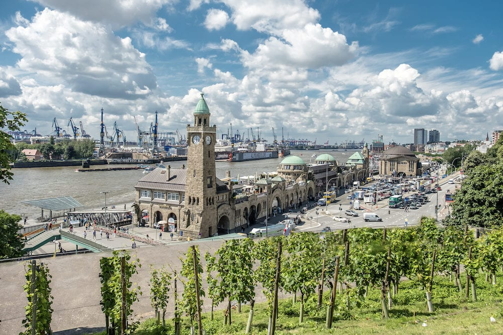 HAMBURG , GERMANY - The St. Pauli Piers, German: St. Pauli Landungsbrucken, are one of Hamburg's major tourist attractions in St. Pauli