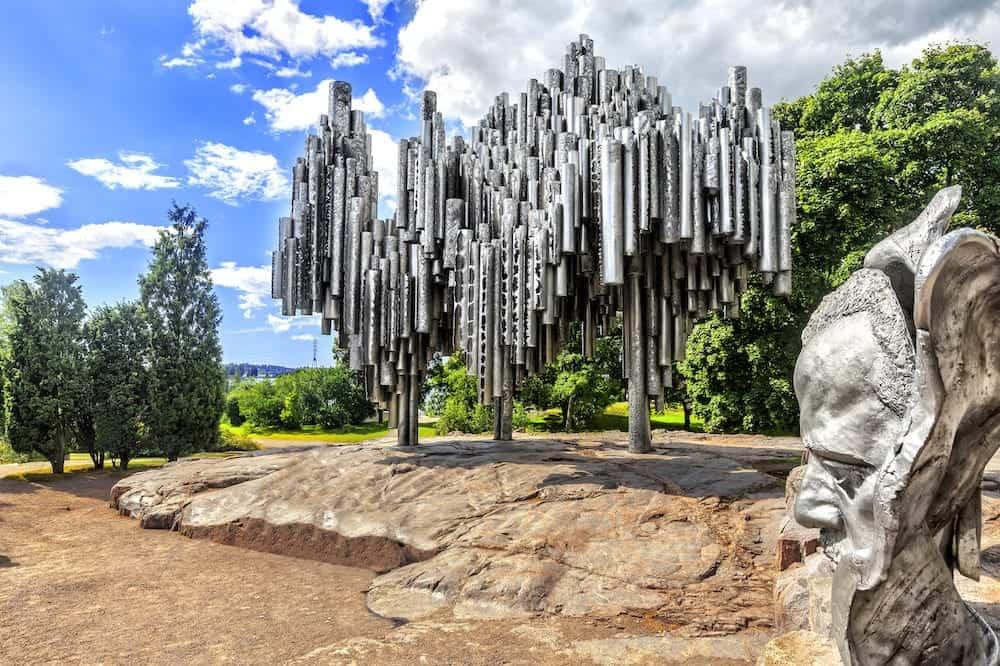 HELSINKI, FINLAND - Monument to Finnish composer Jan Sibelius in Helsinki. Finland.