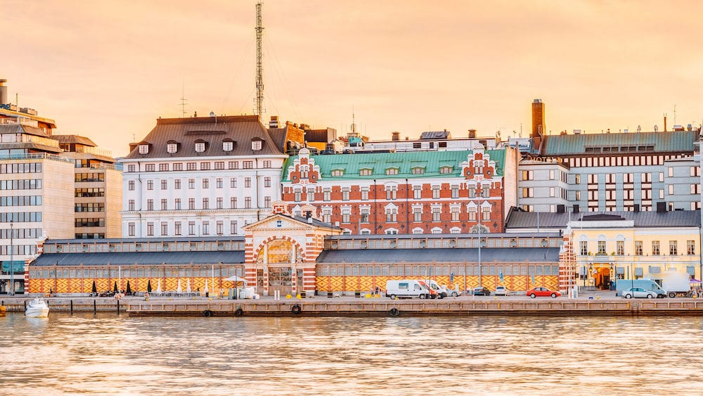Panorama Of Old Market Hall Vanha kauppahalli In Helsinki At Summer Sunset Evening, Sunrise Morning, Finland. Famous Place