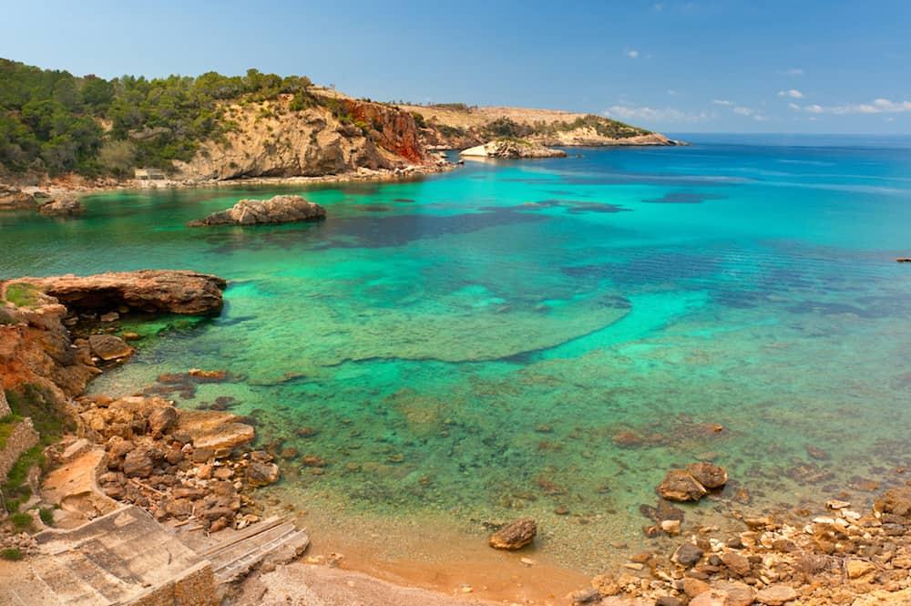 Cala Xarraca a beautiful small bay in Ibiza Spain