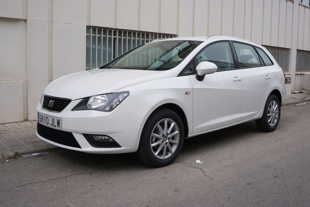 VALENCIA, SPAIN - A White 2015 SEAT Ibiza Five-Door Hatchback Vehicle parked in the streets of Valencia. The SEAT Ibiza is a supermini car made by the Spanish automaker SEAT since 1984.