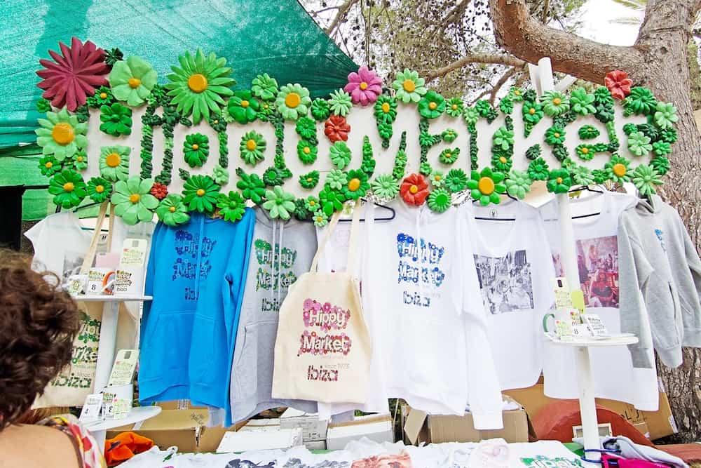ES CANAR IBIZA BALEARIC ISLANDS SPAIN - : Hippy Market fashion souvenirs in Es Canar Ibiza Balearic islands Spain.