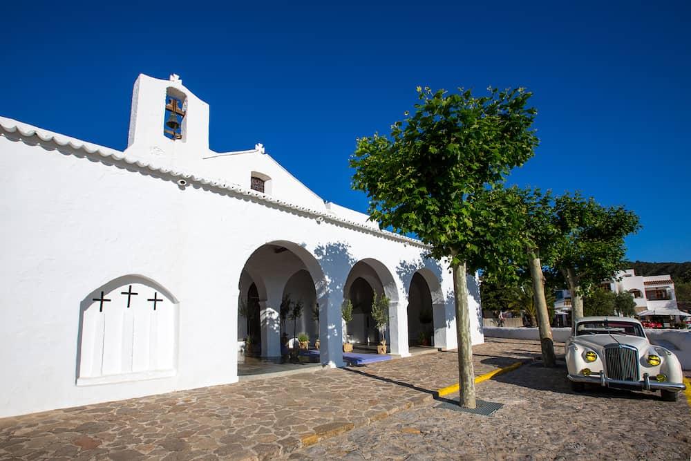 Ibiza Sant Carles de Peralta white church in Balearic Islands Spain