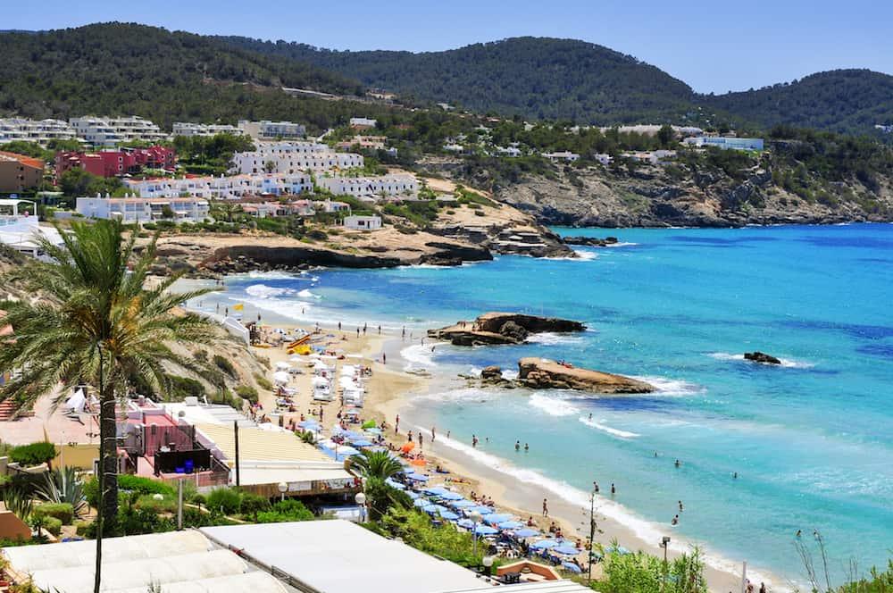 SANT JOSEP, SPAIN - : Panoramic view of Cala Tarida beach in Sant Josep de Sa Talaia, in Ibiza Island, Spain. Ibiza is a well-known summer tourist destination in Europe