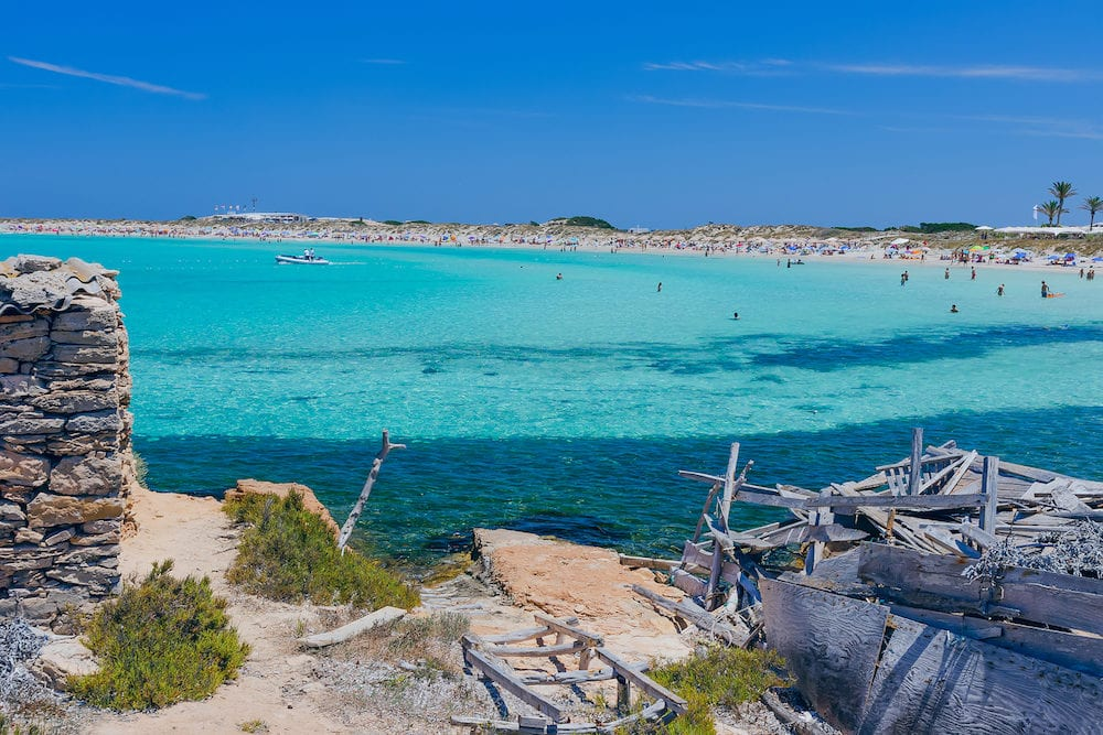 View of beach of the island of Formentera (Spain)