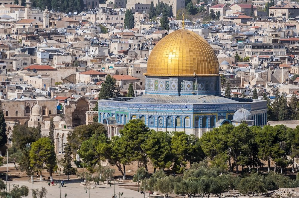 JERUSALEM, ISRAEL. . A close view of the Dome of the Rock, an Islamic shrine located on the Temple Mount in the Old City of Jerusalem. Al Aqsa mosque, Muslim holy place.
