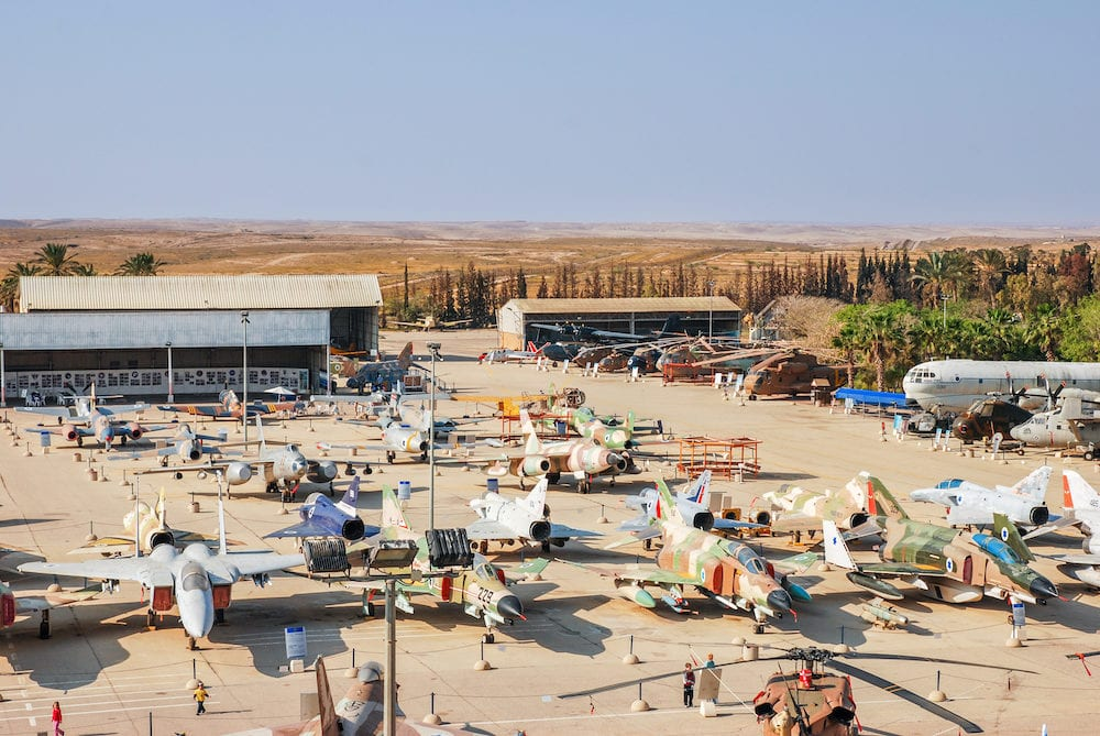 BEER-SHEVA, ISRAEL - Aerial view on lot of vintage aircraft displayed at the Israeli Air Force Museum
