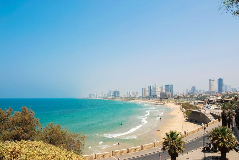 TEL AVIV, ISRAEL - Panorama picture of beautiful Gordon beach in a sunny day of Tel Aviv Israel