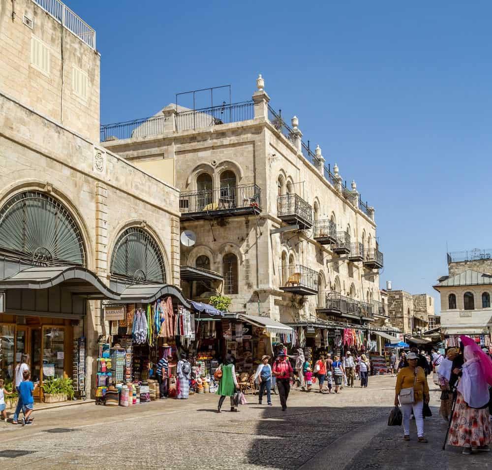 JERUSALEM ISRAEL - The Old City of Jerusalem near the Jaffa Gate street market people walk in Jerusalem Israel