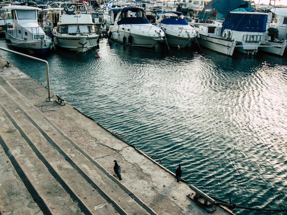 Tel Aviv Yafo Israel View of boats in the Old Jaffa port, One of the oldest known harbors in the world located in the southern part of Tel Aviv in the afternoon