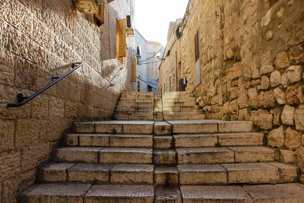 Jerusalem Israel View of the street of the Old city of Jerusalem in the jewish quarter