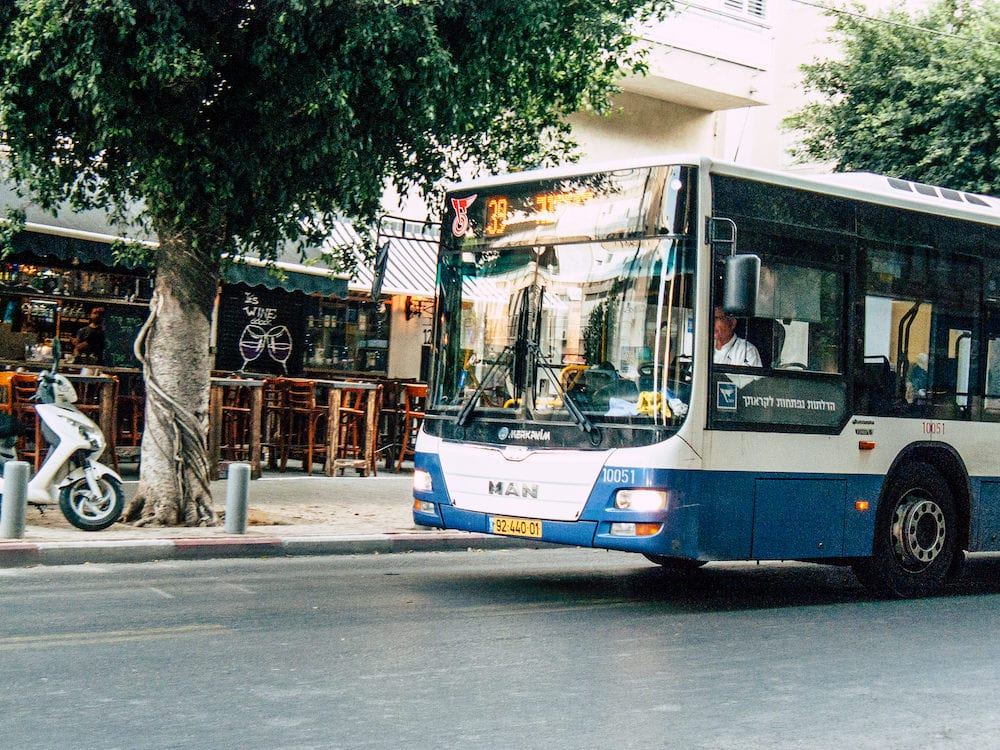 Tel Aviv Israel-View of traditional Israeli local city bus in the streets of Tel Aviv in in the afternoon