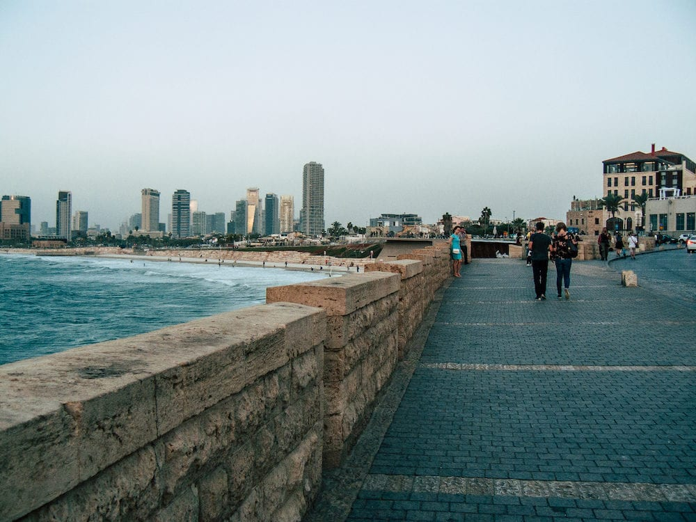 Tel Aviv Yafo Israel-View of unknown people walking along the Old Jaffa port located in the southern part of Tel Aviv in the afternoon