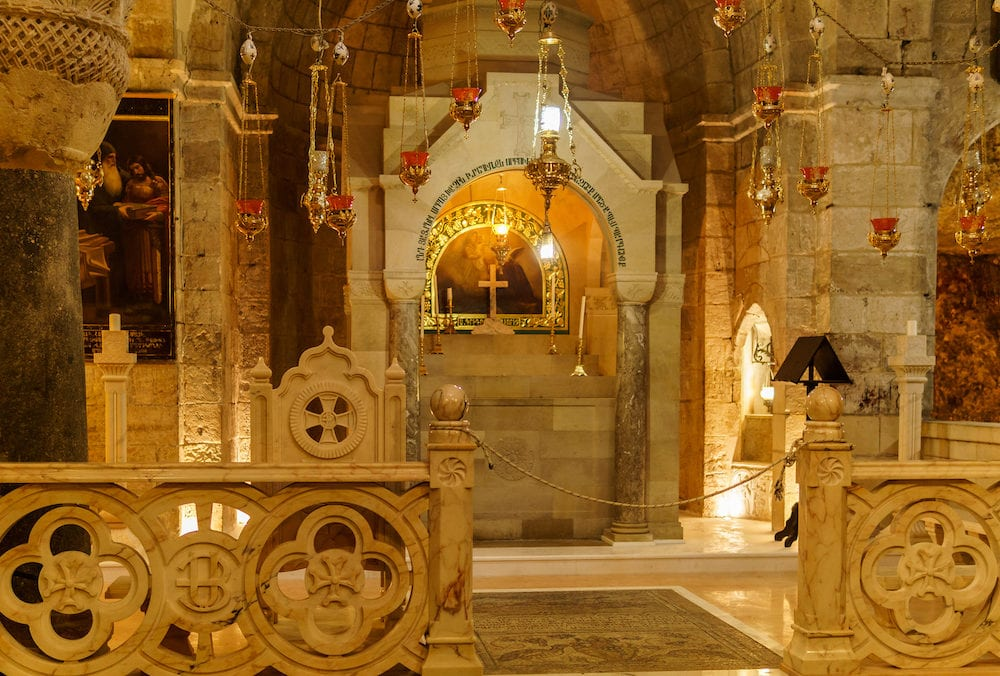 JERUSALEM, ISRAEL - : inside the Church of the Holy Sepulchre.