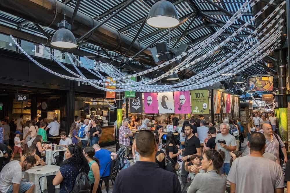 TEL-AVIV ISRAEL - lot of people at Sarona food market. Tel-Aviv Israel