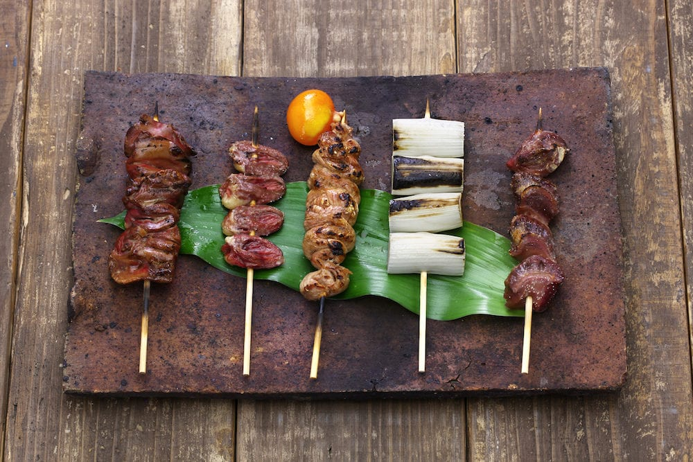 yakitori, japanese grilled chicken skewers variety