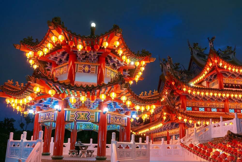 Chinese New Year lanterns decoration in Thean Hou, Buddhist temple landmark in Kuala Lumpur Malaysia