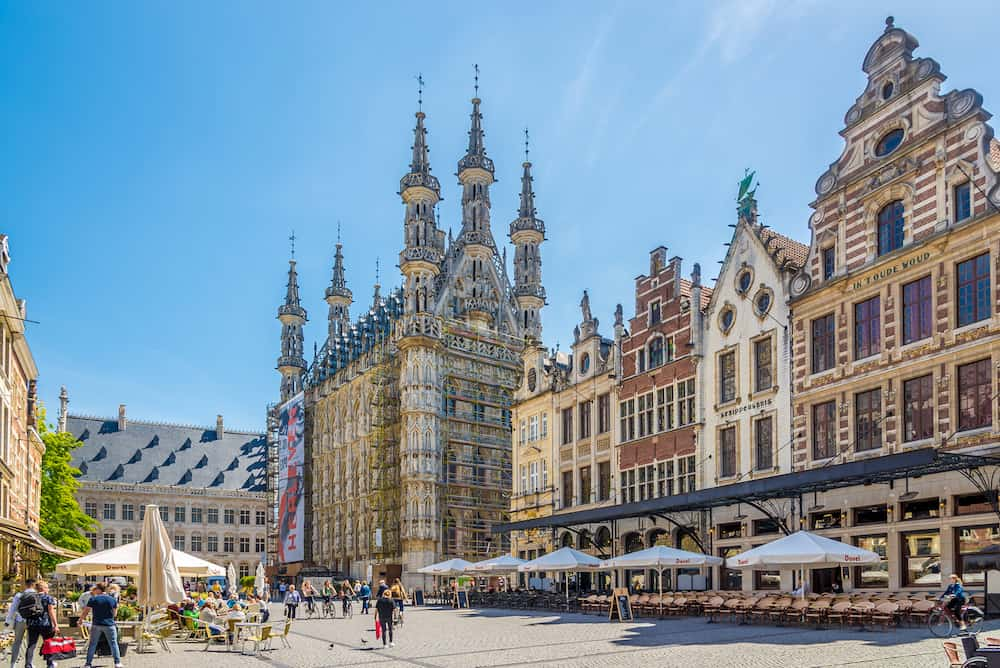 LEUVEN,BELGIUM -- At the Grote Markt place of Leuven. Leuven is located about 25 kilometres east of Brussels.