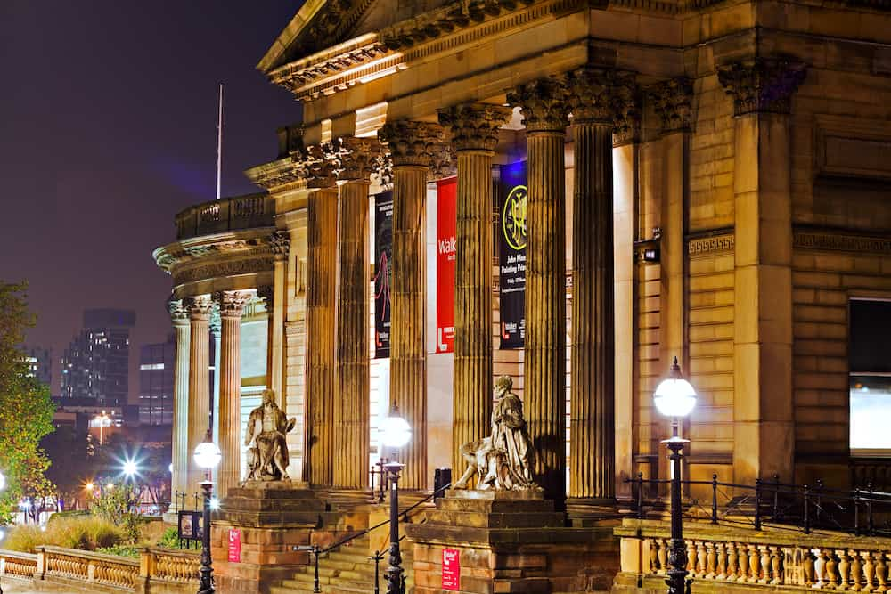 LIVERPOOL UK A nighttime view of the Walker Art Gallery on William Brown St Liverpool