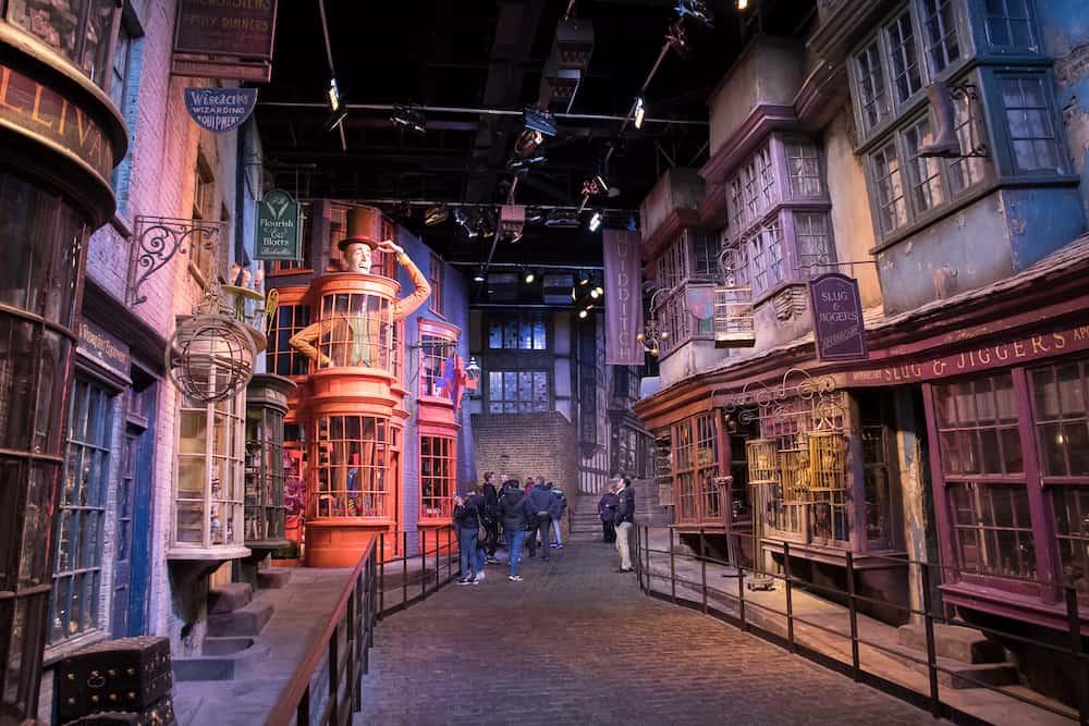LEAVESDEN, UK - Butterbeer sign display at the Making of Harry Potter tour at Warner Bros studio in Leavesden, UK
