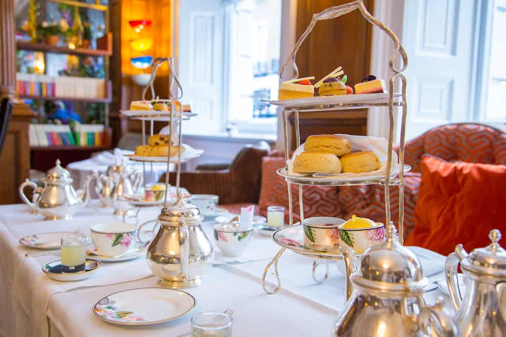 London, UK. . Classical London afternoon tea with english breakfast in a luxury hotel.