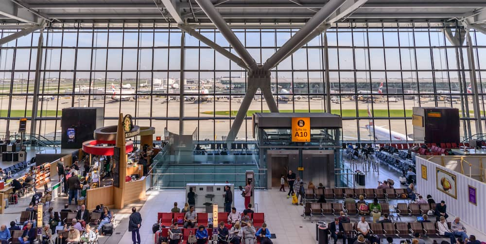 London, England, Heathrow Terminal 5 is an airport terminal at Heathrow Airport. Opened in 2008, the main building in the complex is the largest free-standing structure in the UK