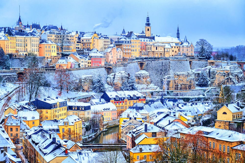 Old town of Luxembourg city snow white in winter Europe