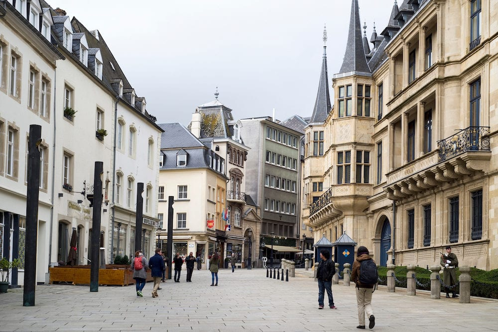 LUXEMBOURG CITY, A view of the Rue du Marche-aux-Herbes with the main facade of the Grand Ducal Palace on the right