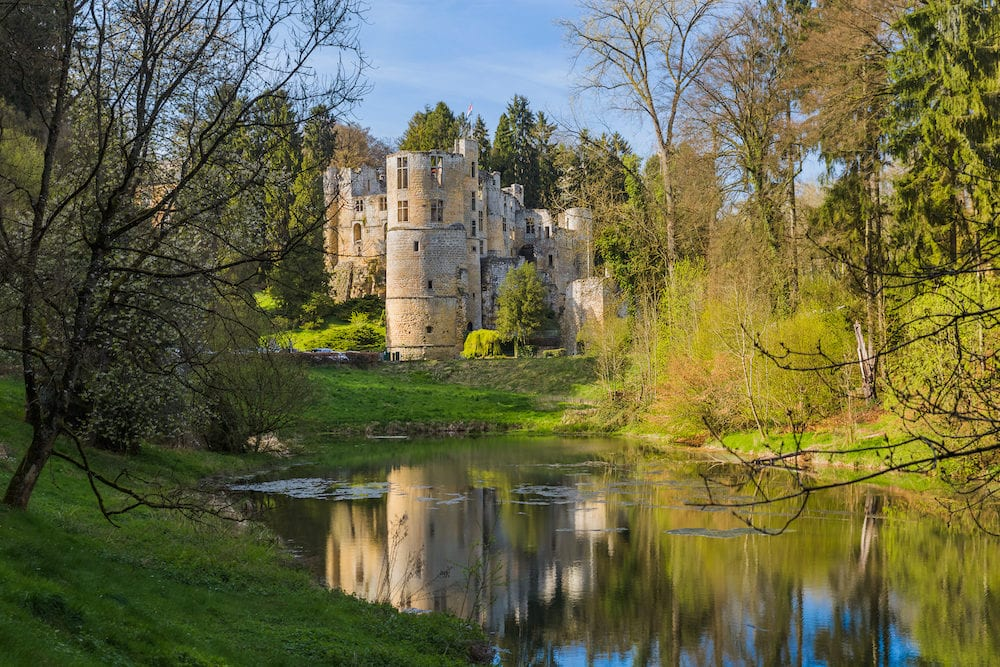 Beaufort castle ruins in Luxembourg - architecture background