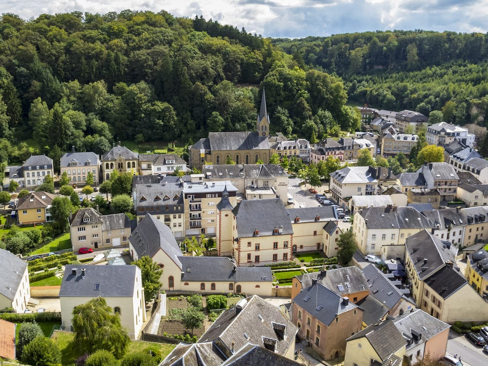 Elevated panoramic view to the town of Larochette, Fiels or Fels in Luxembourg from Larochette Castle