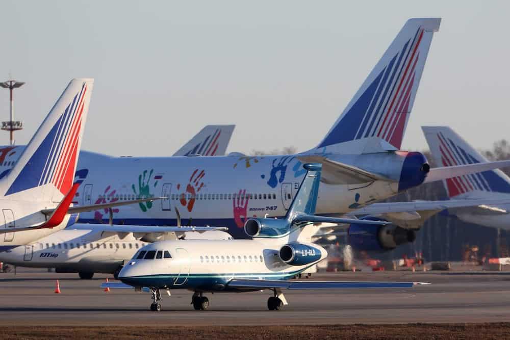 Vnukovo, Moscow Region, Russia -Dassault Falcon F900 LX-GLD taxiing at Vnukovo international airport.