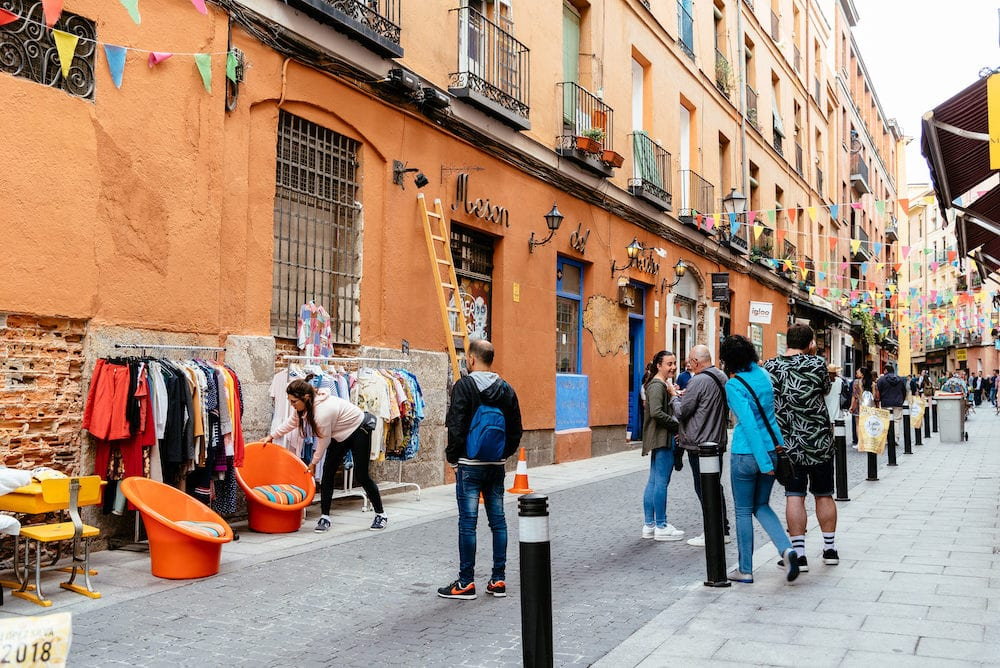 Madrid, Spain - View of flea market in Lavapies Quarter in Madrid. It was long considered the most typical neighborhood of Madrid