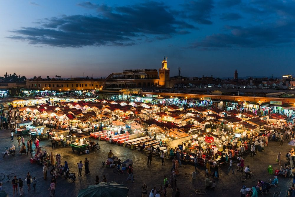 Marrakech, Morocco - Marrakechs Central Place Djemaa El Fna at sunset