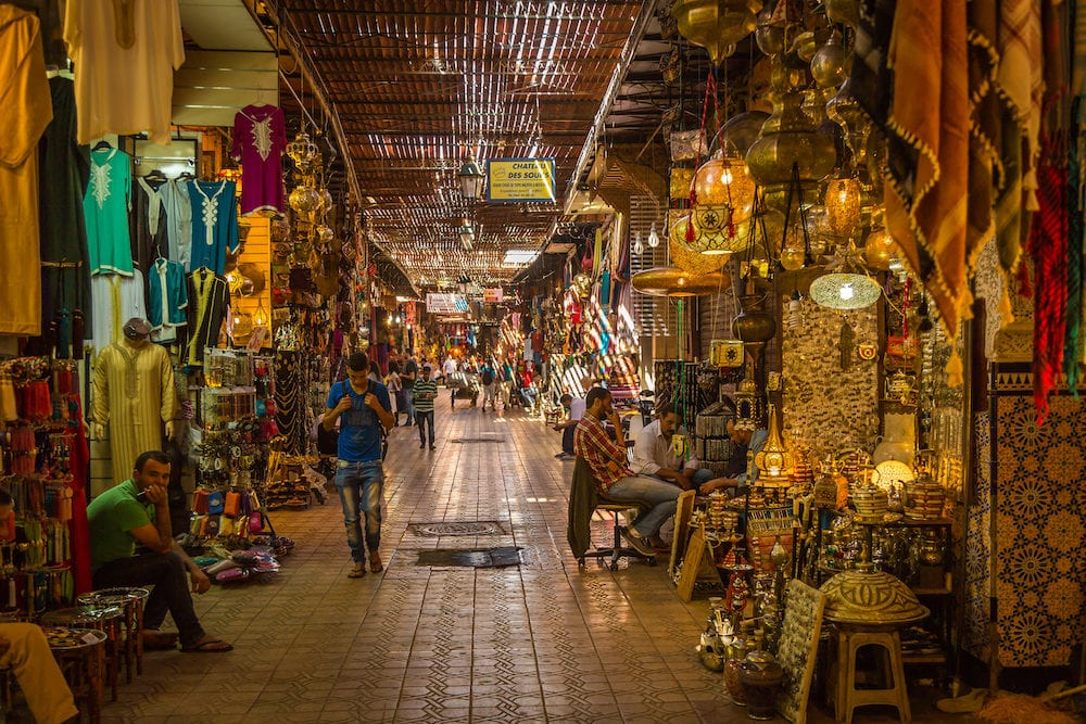 Marrakech, Morocco - : A typical Friday atmosphere at the aisles Souk in Marrakesh Medina
