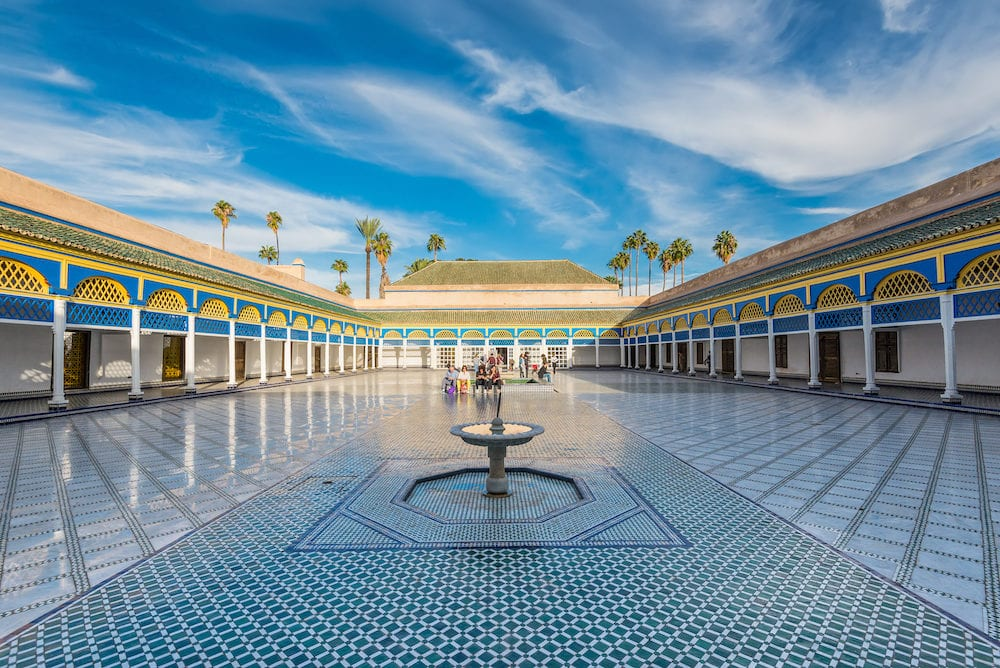 Marrakesh Morocco - : Inside the beautiful Bahia palace with the fountain in Marrakesh Morocco Africa.