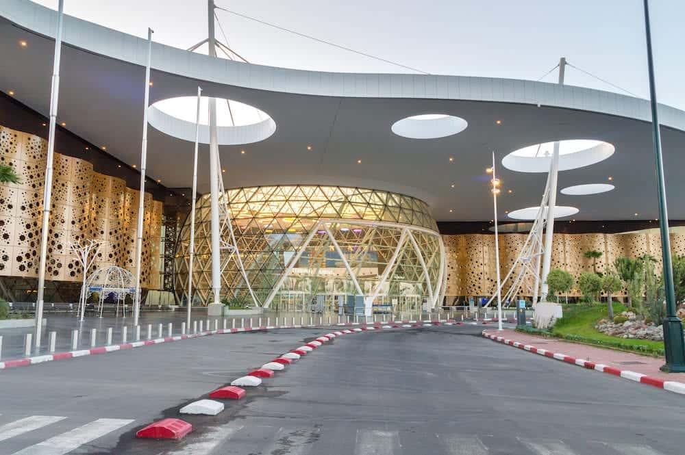 Marrakech, Morocco - The facade of international Marrakesh Menara Airport.