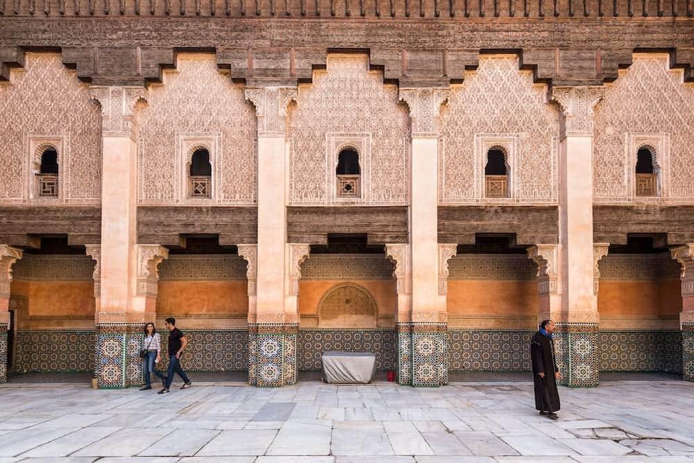Marrakesh, Morocco - Inside the five century old school or Ali ben Youssef Medersa in the center of Marrakesh. The Ben Youssef Madrasa was an Islamic college in Marrakesh, Morocco.