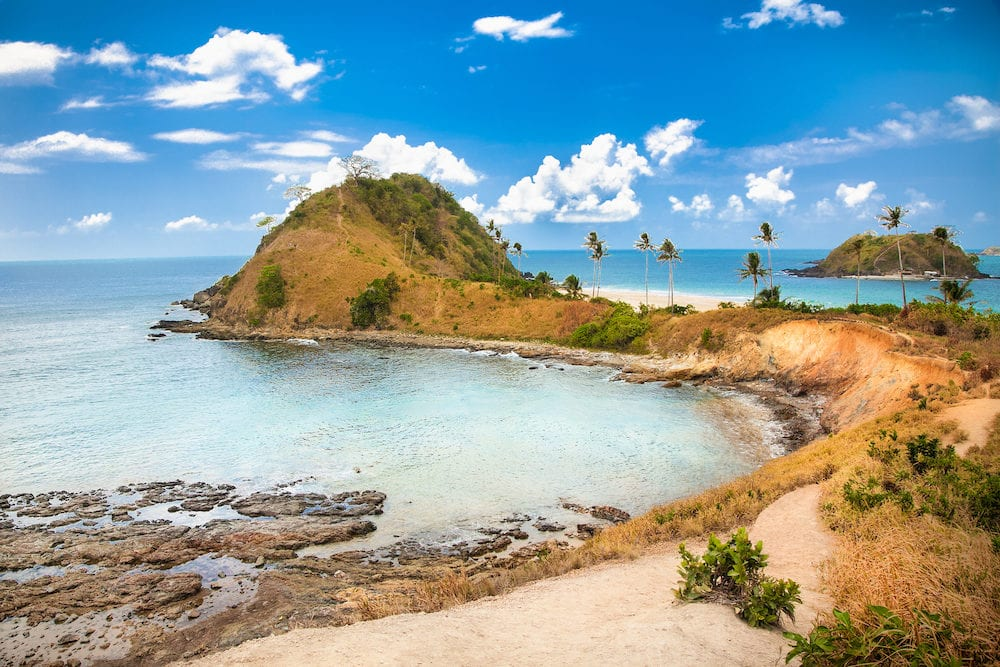 Beautiful view on peninsula of tropical Nacpan beach at Palawan island. Philippines.