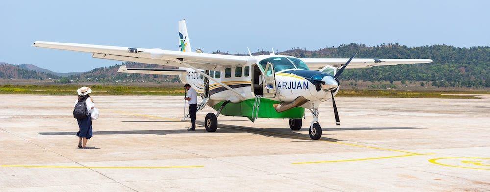 BUSUANGA PHILIPPINES - Small private 9 seat Airplane most popular transport at Palawans in Busuanga airport in Coron privince Busuanga island.