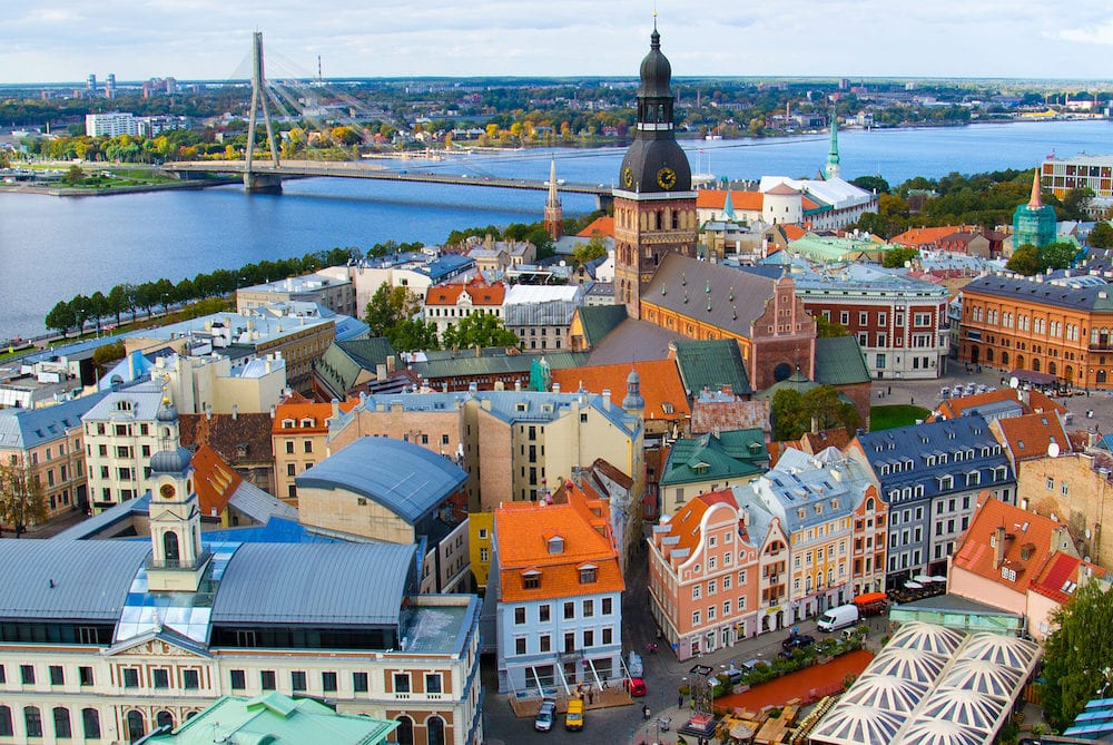 Panorama view of Riga Cityscape Old Town, Dome cathedral, Cathedral Basilica of Saint James, Riga castle and River Daugava from Saint Peter church, Riga, Latvia