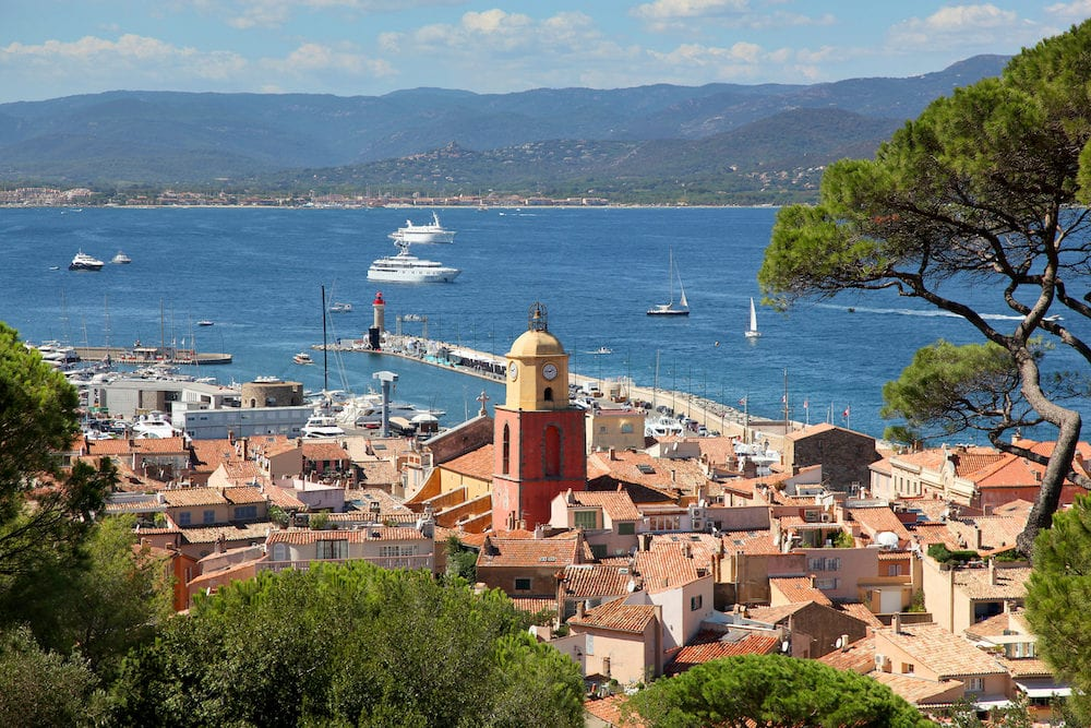 Aerial view of Saint Tropez old town and harbor