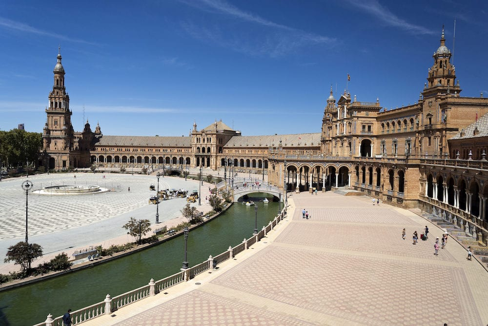 SEVILLE, SPAIN - The Plaza de Espana (Spain Square) is a plaza built for the Expo 1929 in Renaissance Revival and Moorish Revival styles in Seville, Spain