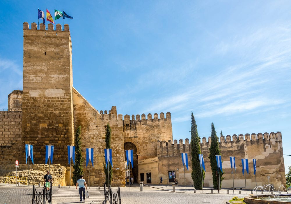 CARMONA,SPAIN - View at the Sevilla gate in Carmona. Carmona is a town of south-western Spain in the province of Seville.
