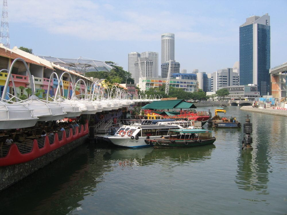 Cityscape of Singapore city as viewed from Clarke Quay.