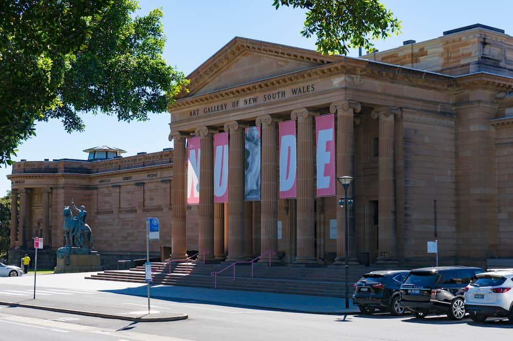 Sydney Australia - Art Gallery of New South Wales with NUDE exhibition banners on facade