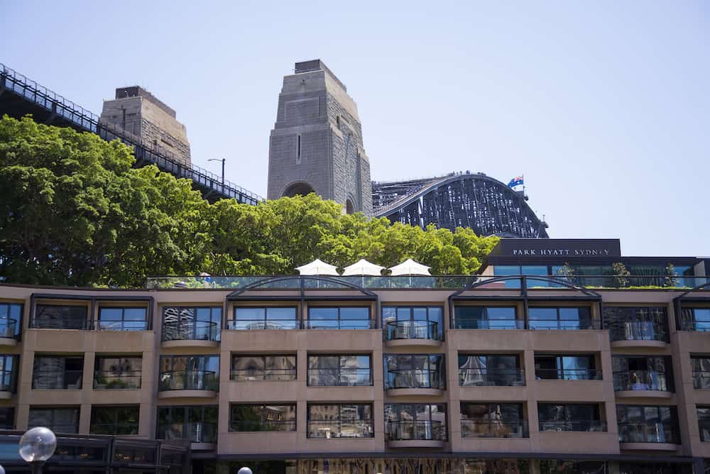 SYDNEY, AUSTRALIA - View at Hotel Park Hyatt Sydney. Hotel have 155 guestrooms including 11 suites and 28 deluxe rooms.
