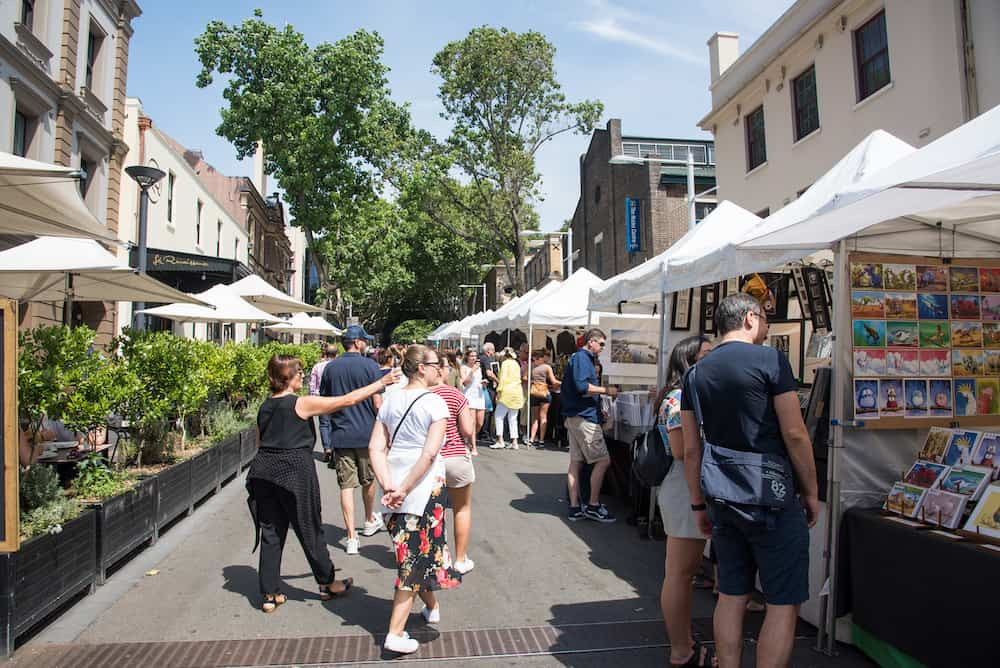 SYDNEY,NSW,AUSTRALIA-People shopping at The Rocks open-air markets in Sydney, Australia.