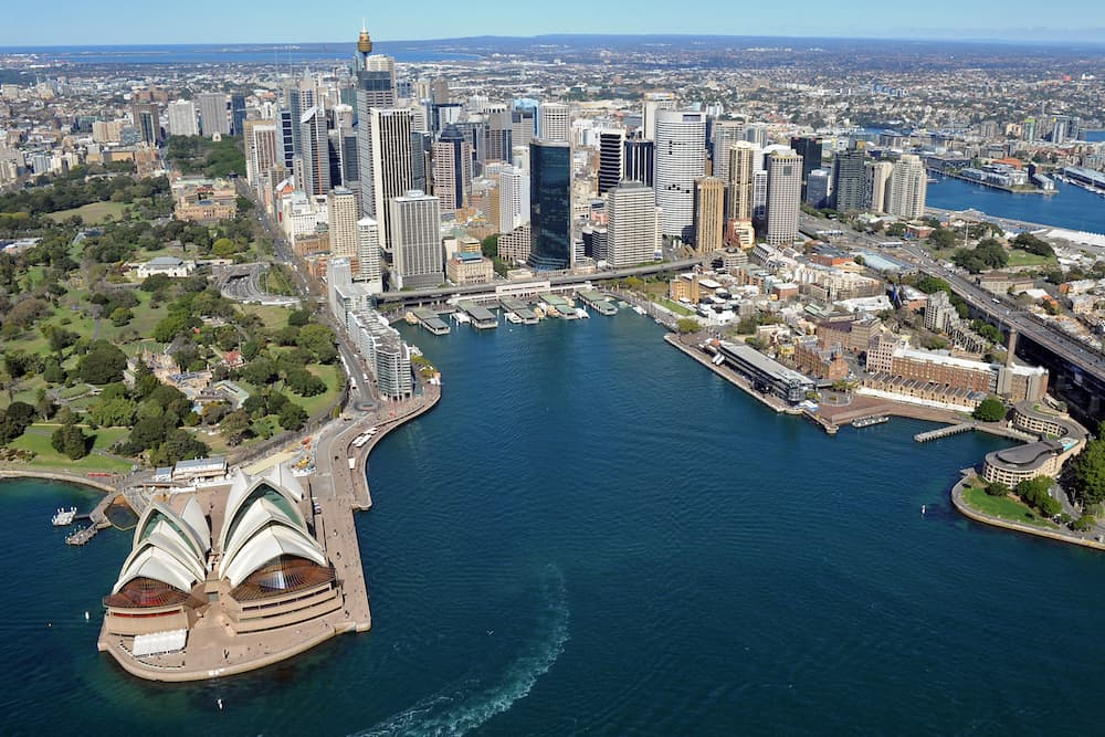 Taken from a helicopter over Sydney Harbour